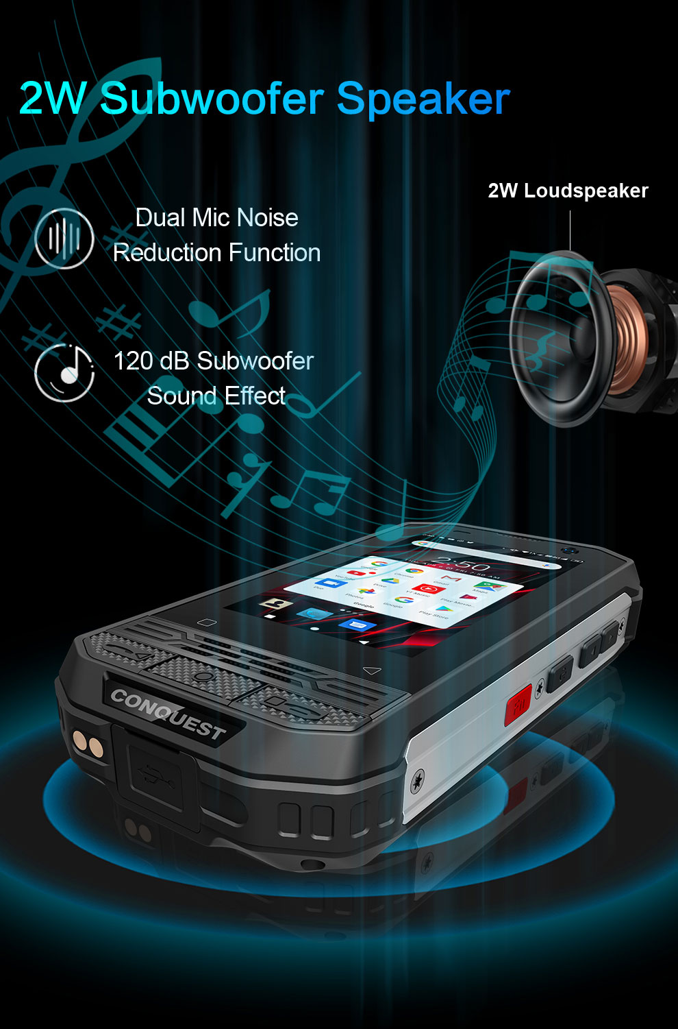 Conquest F2 rugged phone for sale